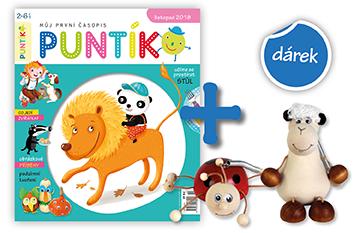Roční předplatné časopisu Puntík + pružinová zvířátka (beruška, ovečka)
