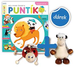 Roční předplatné časopisu Puntík +2 dřevěná zvířátka na pružině