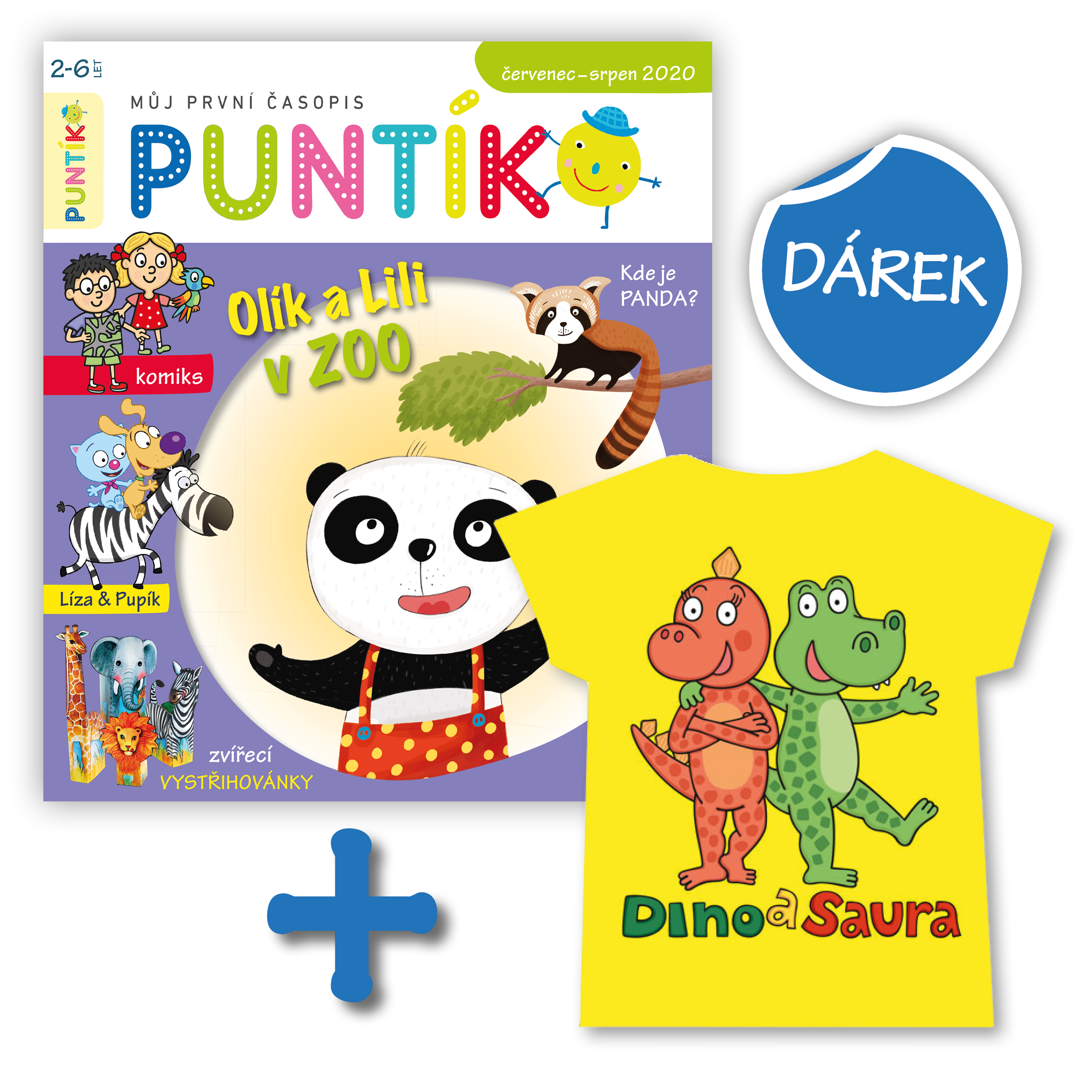 Předplaťte si časopis Puntík na rok (10 čísel) + tričko s Dinem a Saurou